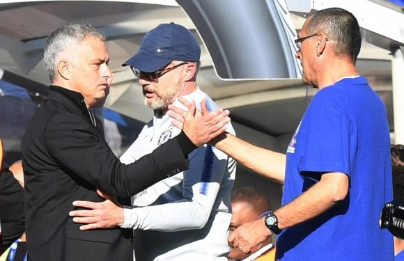 Maurizio Sarri says Chelsea are to blame for Jose Mourinho's astonishing touchline bust-up with Marco Ianni during Manchester United draw