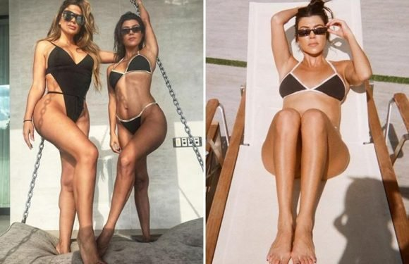 Kourtney Kardashian shows off her amazing figure as she poses in her bikini after slamming Kanye West's Yeezy range