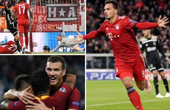 Champions League results: Bayern Munich held by Ajax, Roma run riot against Plzen and Benfica break AEK Athens' hearts with late strike