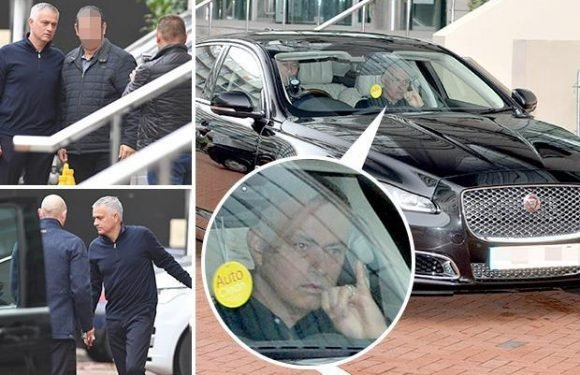 Jose Mourinho gives secret 'pinky finger signal' again as he leaves Lowry Hotel for massive Manchester United vs Newcastle game at Old Trafford