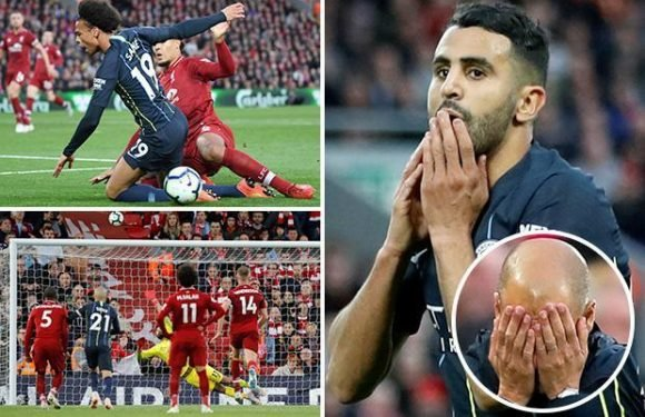 Liverpool 0 Manchester City 0: Riyad Mahrez blasts late penalty over after Pep Guardiola's team are denied THREE penalty shouts at Anfield