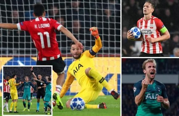 PSV 2 Spurs 2: Lloris sees red as Tottenham's Champions League hopes go up in flames