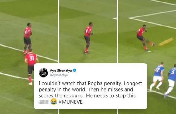 Paul Pogba urged to quit 'pathetic' penalty run-up after taking more than 30 steps in saved spot kick against Everton