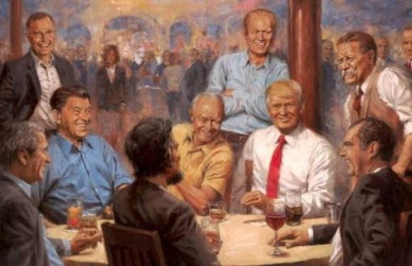 Painting in White House shows Trump having a Diet Coke with Lincoln