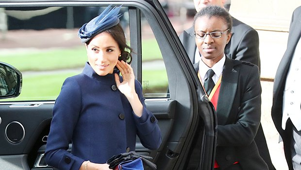 Meghan Markle Looks Stunning In Navy Givenchy At Princess Eugenie's Wedding