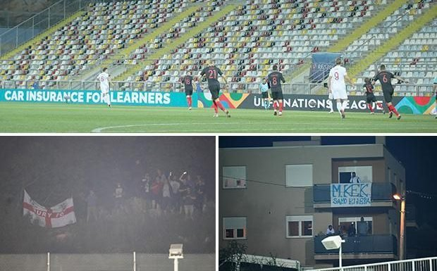 England supporters chant fury at Uefa and wave St George's flags outside stadium in Croatia