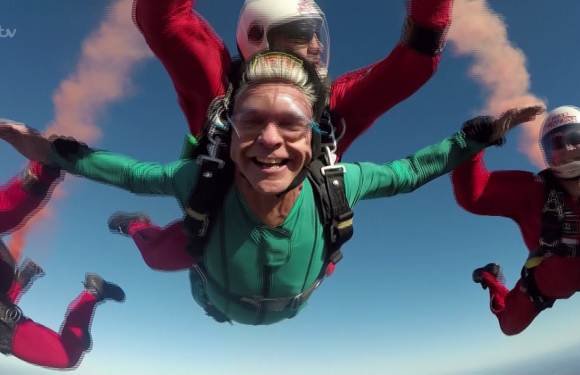 This Morning fans thrilled as Phillip Schofield SKYDIVES into the studio after hilarious skit with Jodie Whittaker and Theresa May