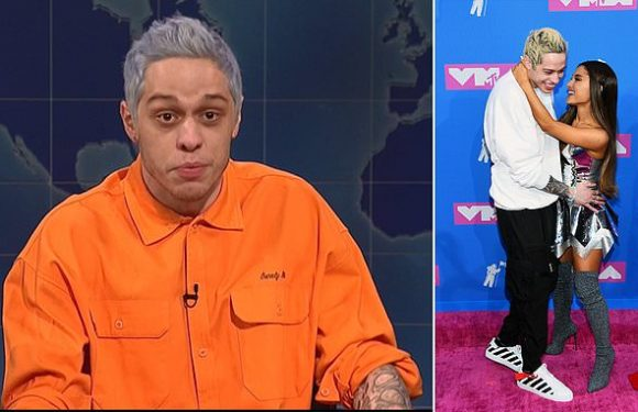 Pete Davidson mentions split from Ariana Grande in touching SNL skit