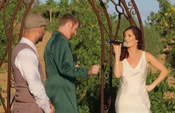 Couple surprise their wedding guests with a rap battle at the alter