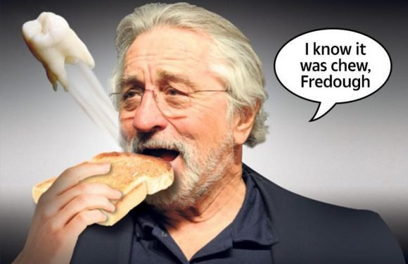 Robert De Niro arrived late for an interview and in agony after he lost a TOOTH while munching on some toast
