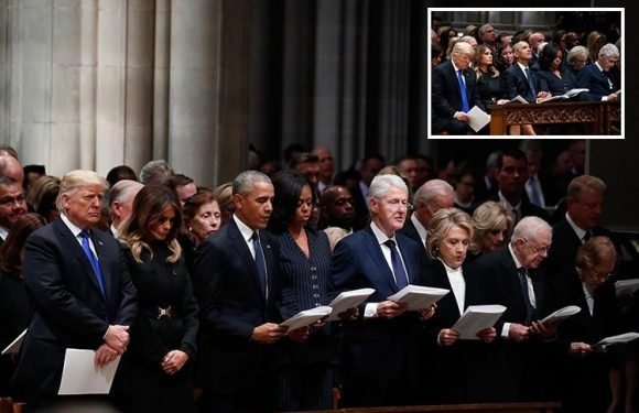 Donald Trump slammed for leaving George HW Bush's funeral before the coffin … and for not reciting The Apostles' Creed
