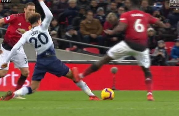 Pogba leaves Alli with stud marks on his leg as Man Utd star booked for tackle