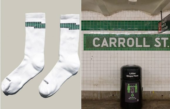 These tube socks are inspired by iconic MTA subway tiles