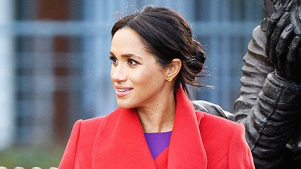 Meghan Markle Cradles Her Growing Bump In Skintight Purple Dress — Gorgeous Pics