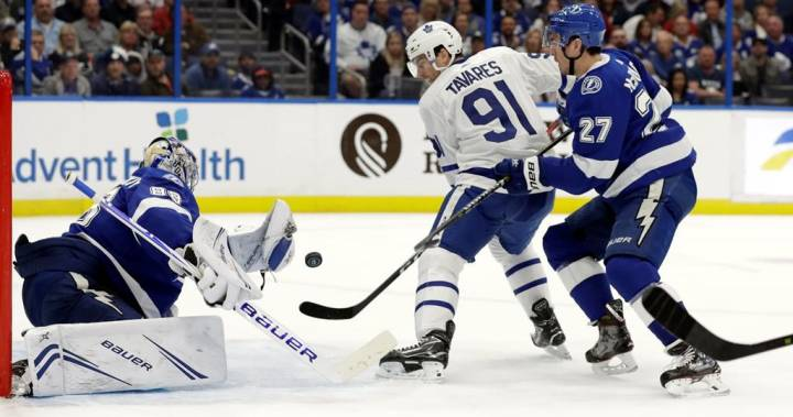 Toronto Maple Leafs score 4-2 victory over NHL-leading Tampa Bay Lightning
