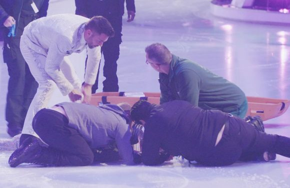 Unconscious Jane Danson strapped to spinal board after Dancing On Ice rehearsal