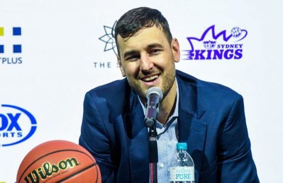 Bogut's bizarre stunt as fellow big-man accepts award on his behalf