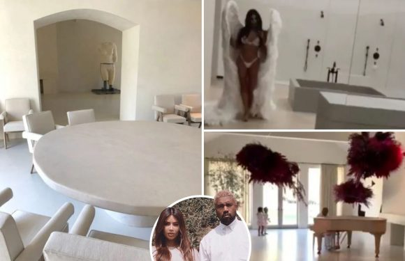 Inside Kim Kardashian and Kanye West's eerily empty mansion with minimal furniture – and reality show crew are banned