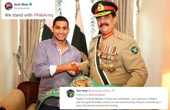 Amir Khan blasted for backing Pakistan army and posting selfies with military figures as conflict with India escalates