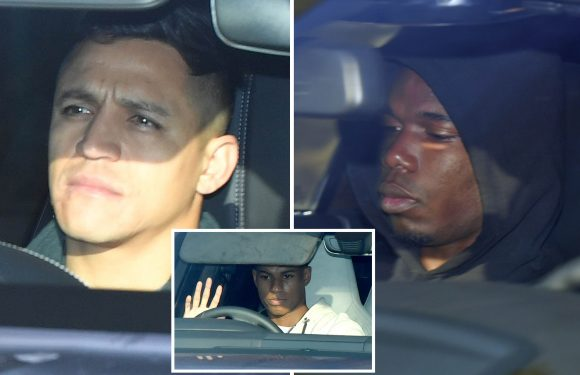 Sanchez arrives for rehab on 'freak injury' after colliding with linesman as Man Utd stars drive in for training