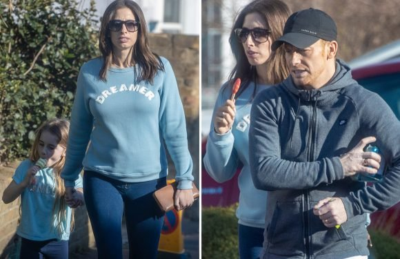 Stacey Solomon covers her baby bump as she enjoys family day out after confirming pregnancy