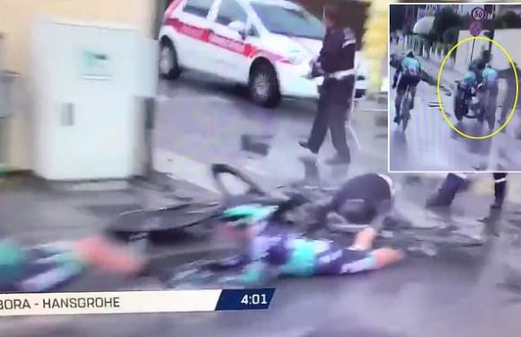 Man is mown down in horror crash at the Tirreno-Adriatico