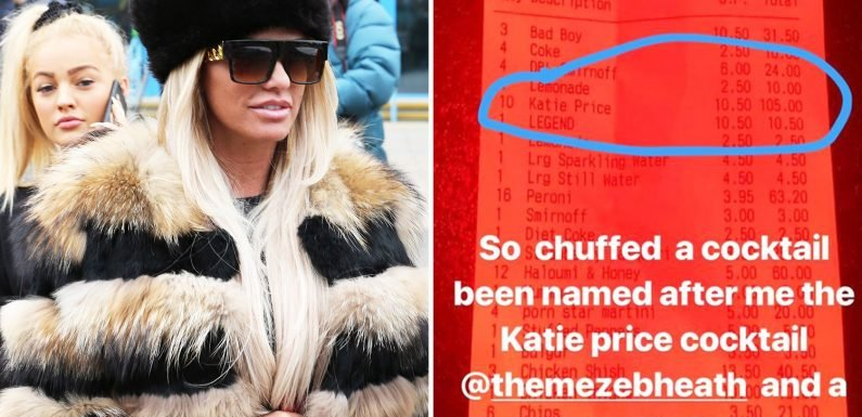 Katie Price boasts she's had a cocktail named after her at the same place she was boozing before drink drive arrest