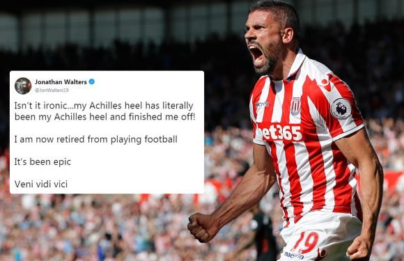 Ex-Stoke and Ireland star Jonathan Walters retires at 35 after 'Achilles heel finished me off'