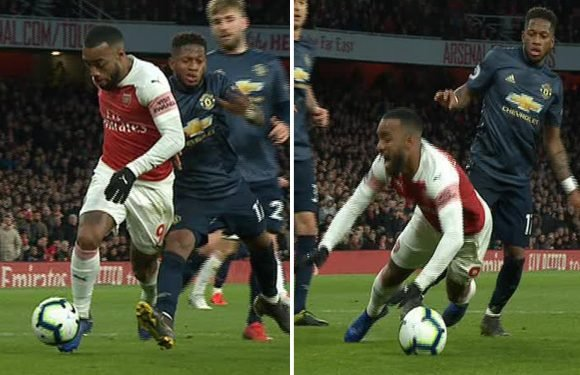 Lacazette accused of diving after Fred barges into him to put Arsenal two up against Man Utd