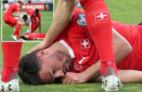 Newcastle star Fabian Schar knocked unconscious in sickening clash of heads but still plays on for Switzerland