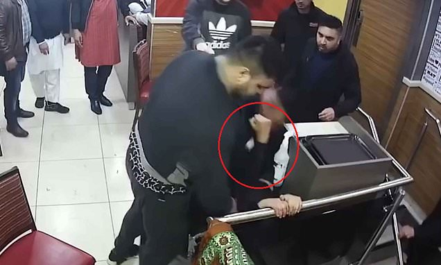 Horrific footage shows man viciously attacked twice in busy restaurant