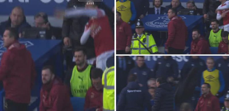 Furious Arsenal star Ozil throws his COAT at Everton staff during touchline row
