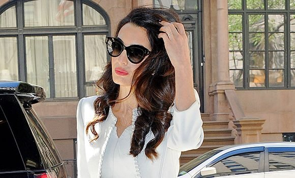 Amal Clooney, 41, Shows Off Slim Figure In White Dress After New Reports She's Pregnant