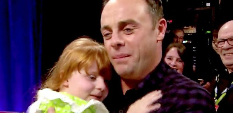 Ant McPartlin moved to tears as schoolgirl hugs him and says: 'I missed you'
