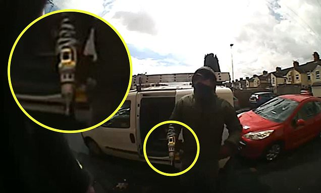 Masked thugs rob plumber's van and threaten him with his own DRILL