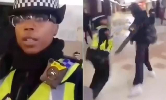 Shocking moment thug steals a police officer's hat