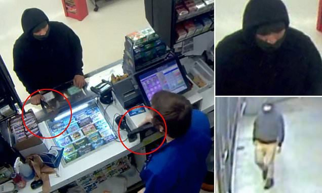 Hatchet-wielding robber flees store after cashier pulls out a handgun
