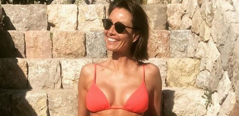Mel Sykes, 48, showcases incredible abs in tiny red bikini on Mallorca holiday