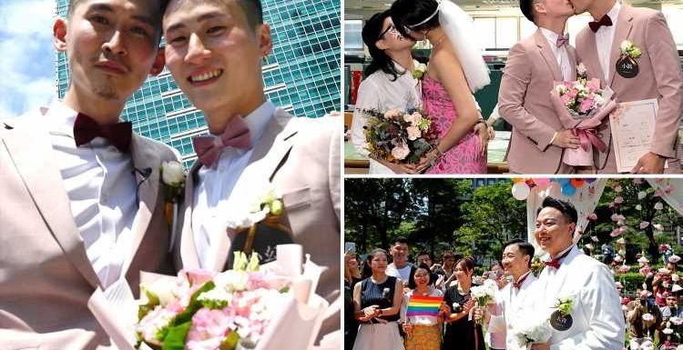 Taiwan holds first gay marriages as 360 couples wed in historic day for Asia days after it was legalised – The Sun
