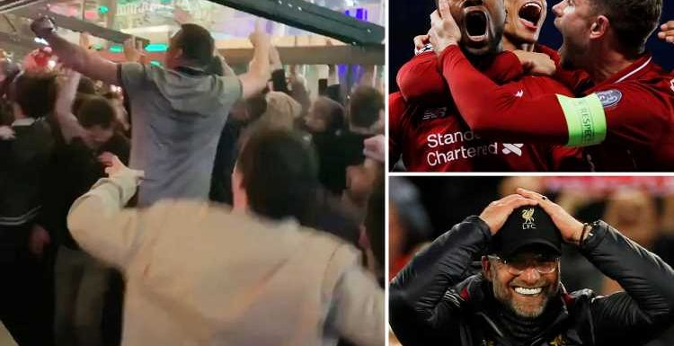 Liverpool fans party all night after team's four-goal comeback against Barcelona