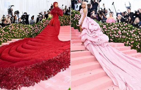 Battle of the Ball Gowns! Cardi B and Nicki Minaj Both Hit Met Gala Red Carpet with Mega Trains 8 Months After Brawl