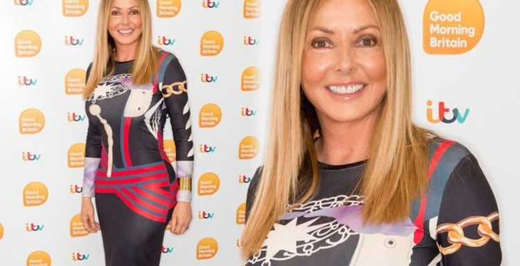 Carol Vorderman, 58, flaunts ample assets in tight patterned dress for GMB appearance