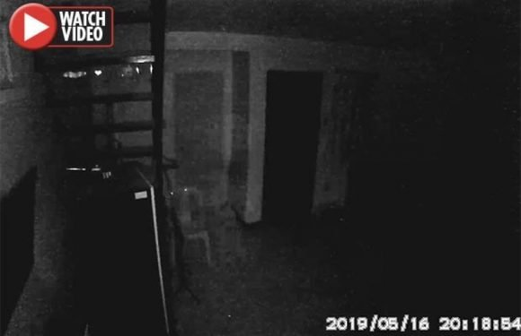Eerie moment 'ghost captured pacing back and forth' in basement of empty house