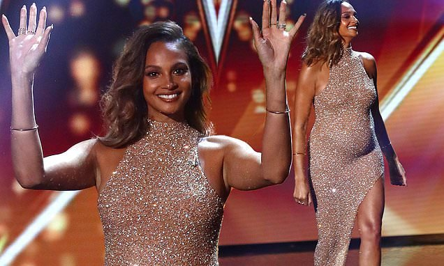 BGT: Alesha Dixon flaunt her blossoming baby bump in a nude gown