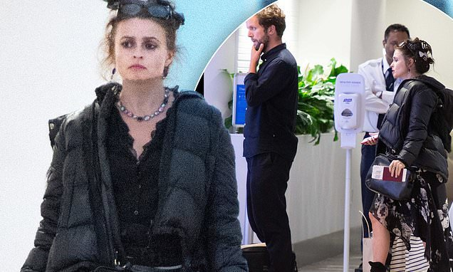 Helena Bonham Carter jets into New York with toyboy Rye Dag Holmboe