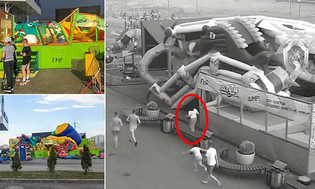 Children are injured as bouncy castle is blown 25ft into the air