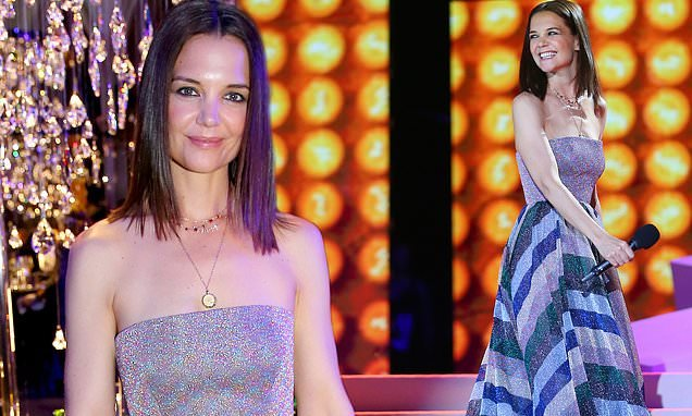 Katie Holmes exudes elegance in shimmering multi-coloured ballgown