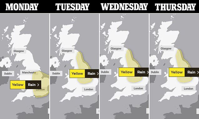 Met Office issues severe rain warning for Monday to Thursday