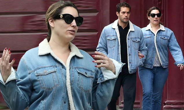 Kelly Brook and boyfriend Jeremy Parisi don matching denim jackets
