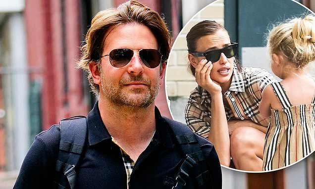 Bradley Cooper sports Burberry on his way to Irina Shayk's house